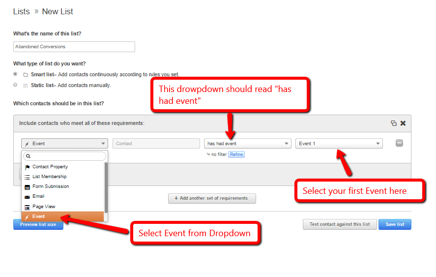 Add event to smartlist in hubspot